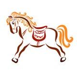 Härliga färgrika barns häst med en sadel stock illustrationer
