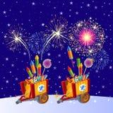 Härliga färgrika feriefyrverkerier i aftonhimlen Attributen av det nya året Vektortecknad filmnärbild royaltyfri illustrationer