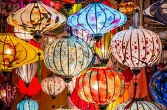 Härliga färgrika lyktor i Vietnam Arkivfoto