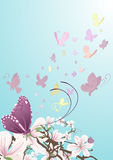 härliga fjärilsblommor stock illustrationer