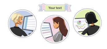 Härliga flickachefdatorer royaltyfri illustrationer