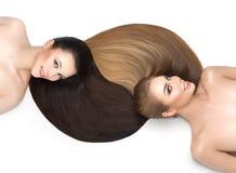 Härliga flickor med sunt hår arkivbilder