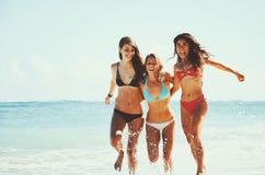 Härliga flickor som är roliga på stranden Arkivfoto