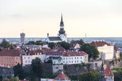 24-27 08 2016 härliga flyg- horisontpanorama för scenisk sommar av den gamla staden i Tallinn, Estland Royaltyfria Bilder