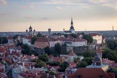 24-27 08 2016 härliga flyg- horisontpanorama för scenisk sommar av den gamla staden i Tallinn, Estland Arkivbild