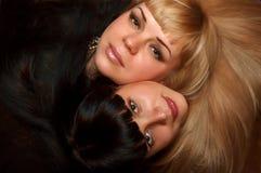 härliga framsidakvinnlighår Royaltyfri Fotografi