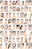 Härliga framsidor av unga och sunda kvinnor Plastikkirurgi, hudomsorg, skönhetsmedel och begrepp för lyfta för framsida royaltyfria foton