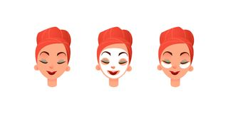 Härliga framsidor för kvinnor s Flicka med att rena maskerings- och ögonlappar mot cirklar under ögonen Ansiktsbehandling- och ög royaltyfri illustrationer