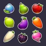 Härliga frukter, bär och grönsakklistermärkear Royaltyfria Foton
