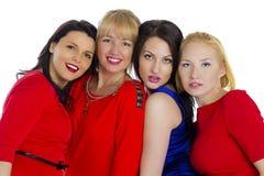 härliga fyra grupperar unga lyckliga isolerade sexiga vita kvinnor Isolerat på whi fotografering för bildbyråer