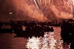 Härliga fyrverkerier i Venedig, Italien Royaltyfria Bilder