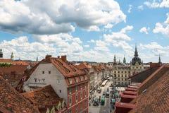 Härliga gamla byggnader i Graz, denstörsta staden i Österrike och huvudstad av förbundsstaten av Styria Fotografering för Bildbyråer