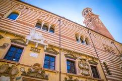 Härliga gamla gator av Verona, Veneto region, Italien Arkivfoto