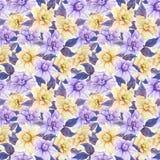 Härliga gardeniablommor med sidor i sömlös blom- modell Pastell färgade botanisk bakgrund för Adobekorrigeringar hög för målning  stock illustrationer