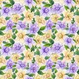 Härliga gardeniablommor med sidor i sömlös blom- modell Pastell färgade botanisk bakgrund för Adobekorrigeringar hög för målning  royaltyfri illustrationer