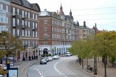 Härliga gator av den gamla staden copenhagen denmark arkivfoto