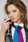 härliga glass winekvinnor Arkivfoton