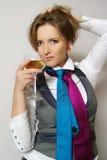härliga glass winekvinnor Royaltyfri Foto