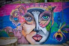 Härliga grafitti i Comuna 13, Medellin Arkivbilder