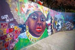 Härliga grafitti i Comuna 13, Medellin Arkivfoton