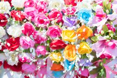 härliga gruppblommor Färgrika blommor för att gifta sig och lurar royaltyfri bild