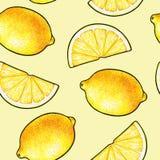 Härliga gula citronfrukter som isoleras på gul bakgrund Citronklotterteckning seamless modell Arkivbild