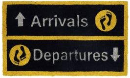 Härliga gula och svarta ankomster och mattt för dörr för avvikelser utomhus- med fotmoment arkivbild