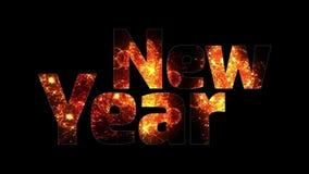 Härliga guld- fyrverkerier glöder till och med det lyckliga nya året för text Sammansättning för berömmen för nytt år brigham royaltyfri illustrationer