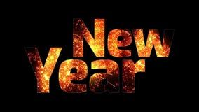 Härliga guld- fyrverkerier glöder till och med det lyckliga nya året för text Sammansättning för berömmen för nytt år brigham stock illustrationer