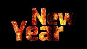 Härliga guld- fyrverkerier glöder till och med det lyckliga nya året för text Sammansättning för berömmen för nytt år brigham vektor illustrationer