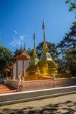 Härliga guld- pagoder på Wat Phra That Doi Tung, Chiang Rai Wat Phra That Doi Tung består av av tvilling- enstil stupas, en Arkivfoton