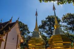 Härliga guld- pagoder på Wat Phra That Doi Tung, Chiang Rai Wat Phra That Doi Tung består av av tvilling- enstil stupas, en Royaltyfri Foto