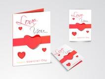 Härliga hälsningkort för lycklig valentin dagberöm stock illustrationer
