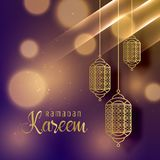 Härliga hängande lampor för ramadan kareem kryddar bakgrund stock illustrationer