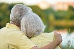 Härliga höga par som kramar i, parkerar, den tillbaka sikten fotografering för bildbyråer