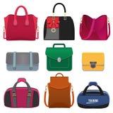 Härliga handväskor för kvinnor Vektorbilduppsättning vektor illustrationer
