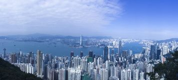 Härliga Hong Kong Panoramic royaltyfria foton