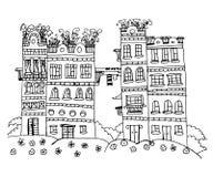 Härliga hus med blommakontur skissar illustrationen Royaltyfri Fotografi