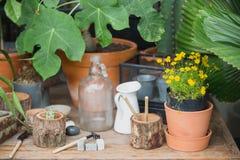 Härliga hyllor med dekorativa beståndsdelar som står i rum Arkivfoto