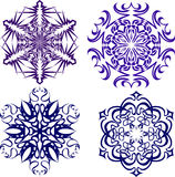 härliga julsnowflakes Färdig uppsättning från 4 saker 6 Fotografering för Bildbyråer