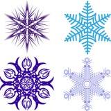 härliga julsnowflakes Färdig uppsättning från 4 saker 9 Arkivfoto
