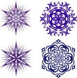 härliga julsnowflakes Färdig uppsättning från 4 saker 7 Arkivfoto