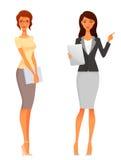 Härliga kontors- eller affärskvinnor stock illustrationer