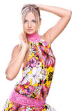 härliga kulöra klänningkvinnor Arkivfoto