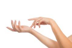 Härliga kvinnahänder med fransk manikyr spikar fotografering för bildbyråer