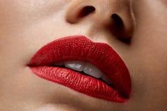 Härliga kvinnakanter för Closeup med röd läppstift på Det purpurfärgade sminket och färgrikt ljust spikar royaltyfri foto