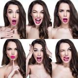 Härliga kvinnastående med olika sinnesrörelser på framsida royaltyfria foton