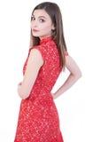 Härliga kvinnor i röd klänning Arkivfoton