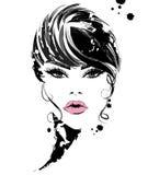 Härliga kvinnor, logokvinnor vänder mot makeup på vit bakgrund, vektor vektor illustrationer