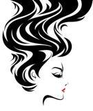 Härliga kvinnor, logokvinnor vänder mot makeup på vit bakgrund, vektor royaltyfri illustrationer